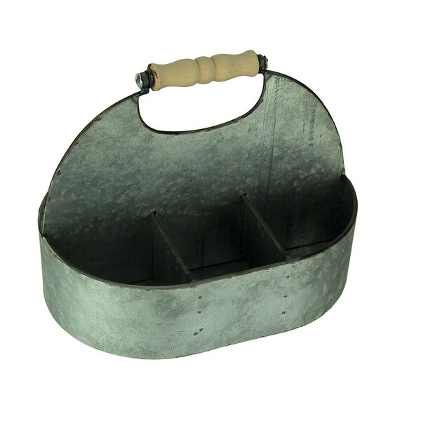 Rustic Galvanized Finish Metal Divided Storage Caddy - 7.5 X 10 X 7 inches