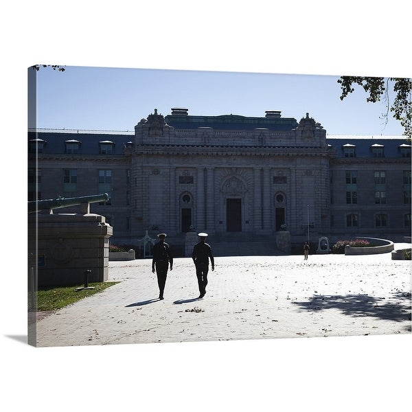 """""""Naval cadets walking in front of a building, Tecumseh Court, US Naval Academy"""" Canvas Wall Art"""