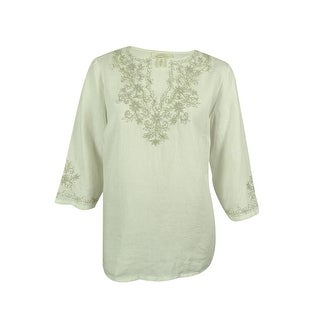 Charter Club Women's 100% Linen Embroidered Tunic Top