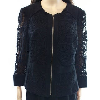 INC NEW Black Faux-Suede Women Size Small S Lace Contrast Basic Jacket