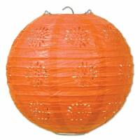 """Club Pack of 18 Orange Lace Inspired Hanging Paper Lanterns Party Decorations 8"""""""