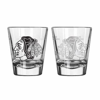 Chicago Blackhawks Shot Glass - 2 Pack Satin Etch