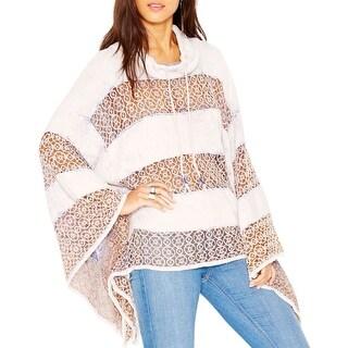 Free People Womens Poncho Sweater Crochet Trim Turtleneck