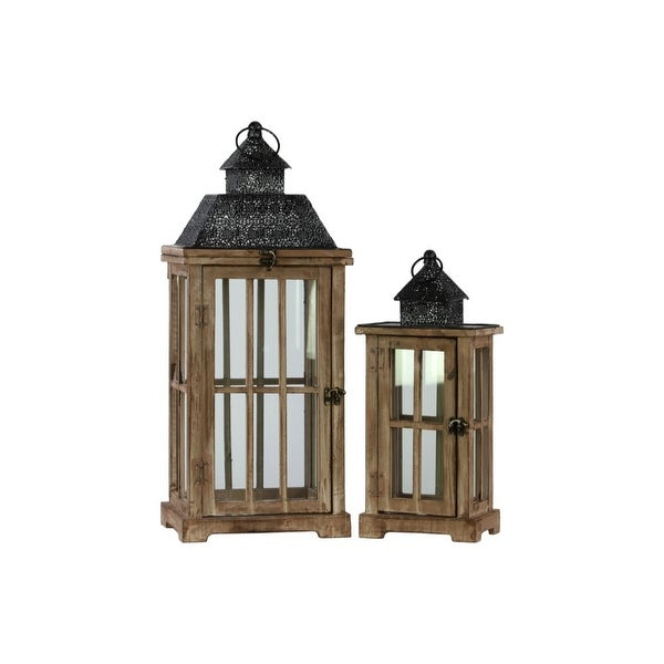 Traditional Wooden Lantern With Black Pierced Metal Top, Set Of 2, Dark Brown