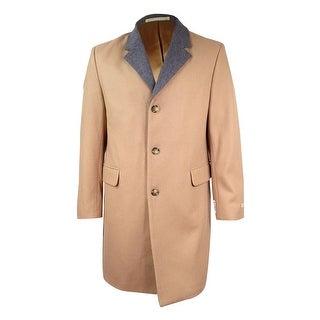 MICHAEL Michael Kors Men's Wool-Blend Overcoat with Contrast Collar (42R, Camel) - Camel