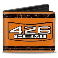 426 Hemi Badge Weathered Orange Black White Bi Fold Wallet - One Size Fits most