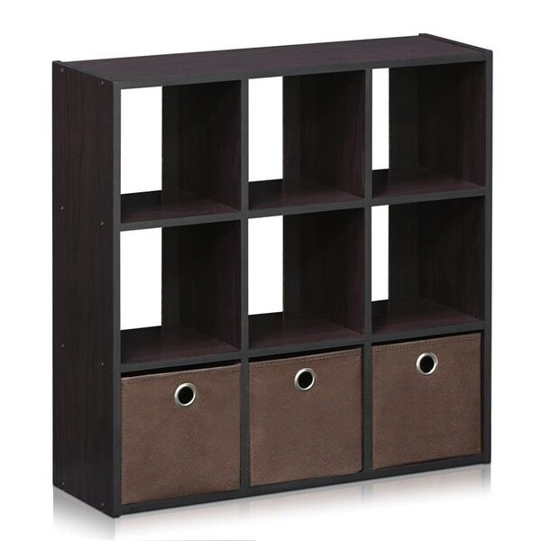 Shop Simplistic 9 Cube Organizer With Bins Dark Walnut Free Shipping Today Overstock Com 23365082