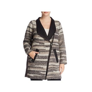 Nic + Zoe Womens Plus Visionary Midi Coat Winter Sweatercoat
