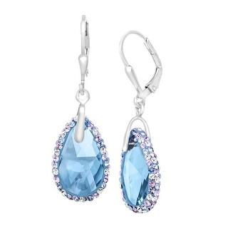 Crystaluxe Teardrop Earrings with Sky Blue Swarovski Crystals in Sterling Silver