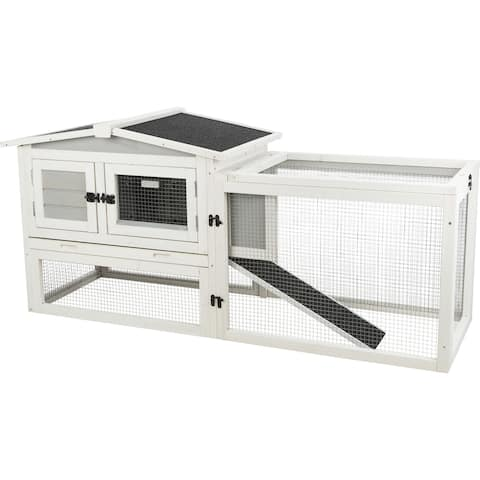 """TRIXIE Natura Insulated Rabbit Hutch Peaked Roof and Run XS - 22"""" x 61"""" x 27.75"""""""