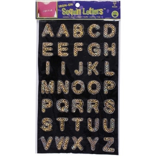 "Iron-On Sequin Letters 1"" Block-Gold - GOLD"