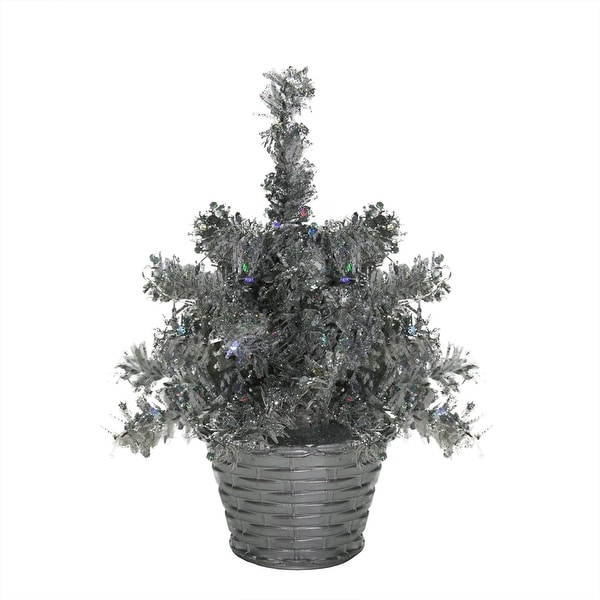 """8"""" LED Lighted Battery Operated Table Top Silver Tinsel Potted Christmas Tree - Polar White Lights"""