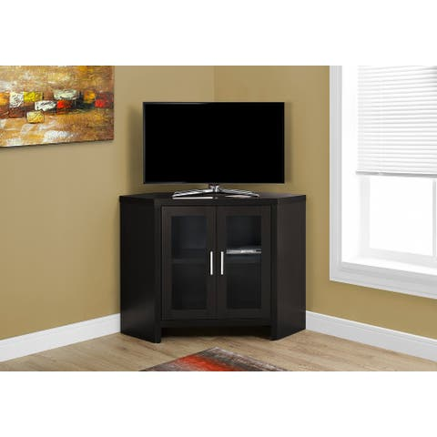 Monarch 2700 Cappuccino 42nch Corner Tv Stand With Glass Doors