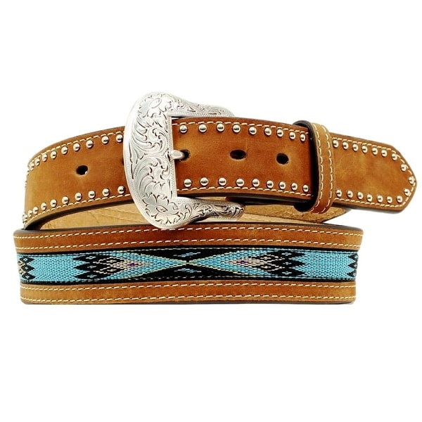 Nocona Western Belt Mens Leather Tooled Scalloped Studs Brown