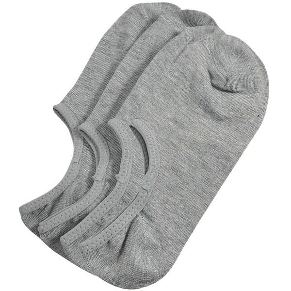 Unique Bargains Mens Short Gray Elastic Low Cut No Show Footie Boat Socks 2 Pairs