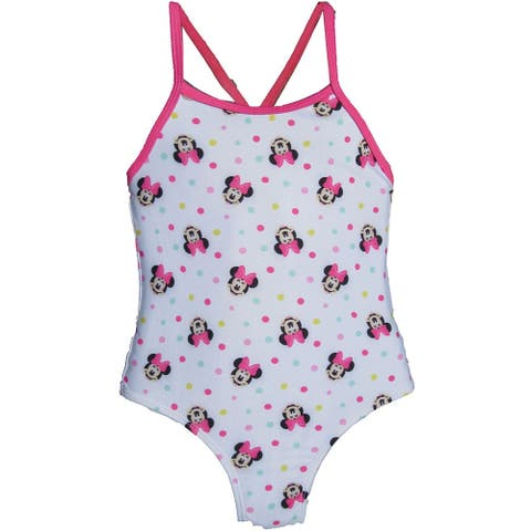 Disney Baby Girls White Pink Minnie Mouse 1pc Swimsuit