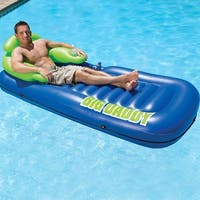 "82"" Blue and Green Big Daddy Inflatable Swimming Pool Lounge with Snack and Beverage Pockets"