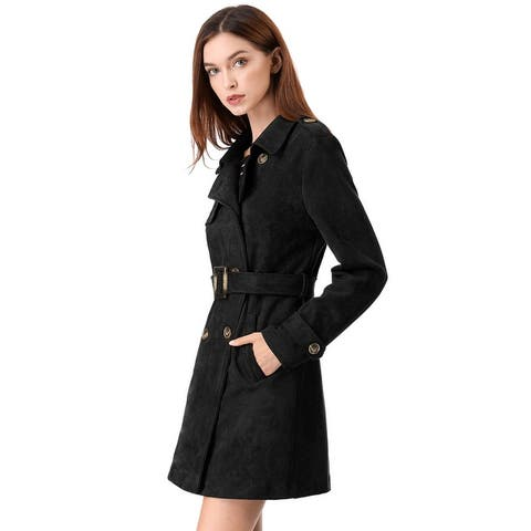 Women's Lapel Double Breasted Faux Suede Trench Coat Jacket with Belt