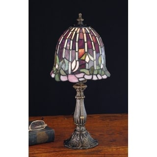 Meyda Tiffany 26647 Stained Glass / Tiffany Accent Table Lamp from the Flowering Lotus & Wisteria Collection