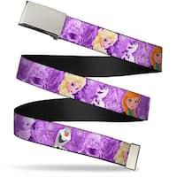 Blank Chrome  Buckle Frozen Anna Elsa Olaf Poses Scenes Purples Webbing Web Belt