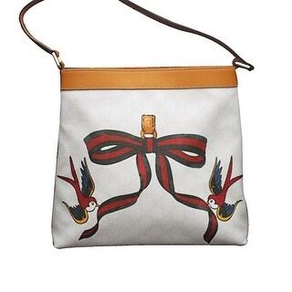 Gucci White Canvas Bird Ribbon Tattoo Meier Hobo Bag