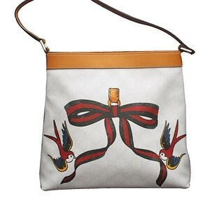 Gucci White Canvas Bird Ribbon Tattoo Meier Hobo Bag