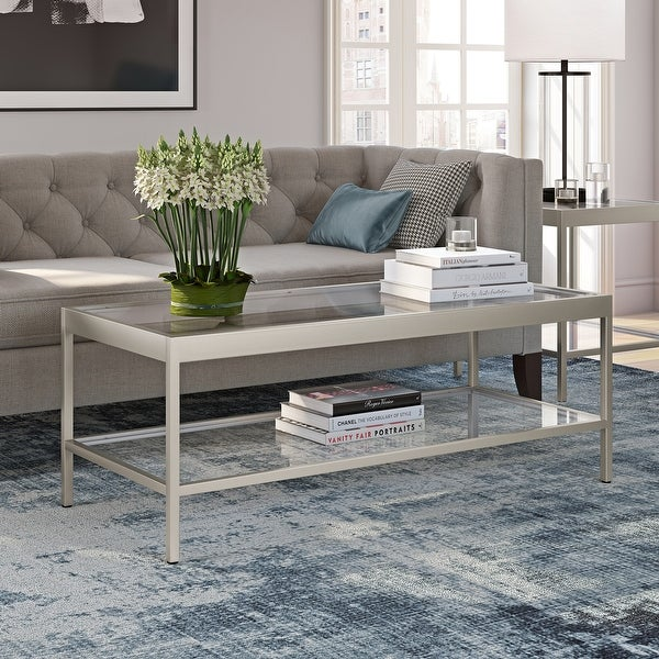 Alexis Modern Metal and Glass Coffee Table. Opens flyout.