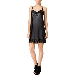 Guess Womens Celeste Slip Dress Faux Leather Lace Trim