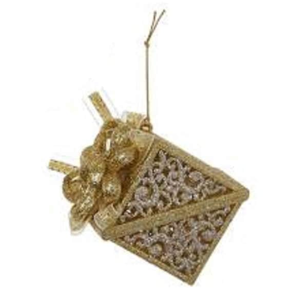 Seasons of Elegance Gold & Silver Square Gift Box Christmas Ornament 3.25""