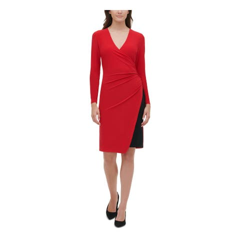 TOMMY HILFIGER Red Long Sleeve Above The Knee Sheath Dress Size 10
