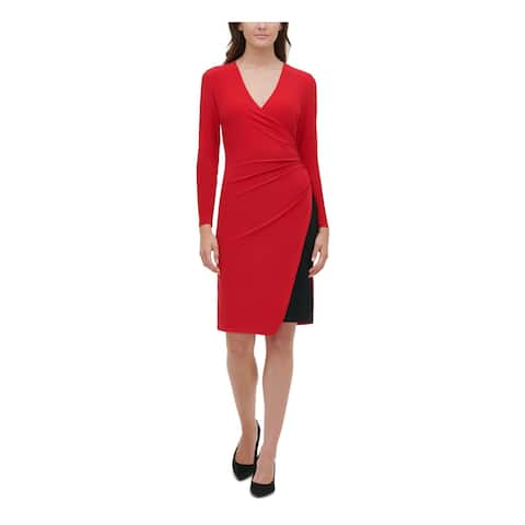 TOMMY HILFIGER Red Long Sleeve Above The Knee Sheath Dress Size 12