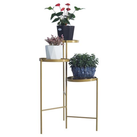 Tri-Level Metal Plant Stand Gold Color Decorative Hinged Tray Stand Display