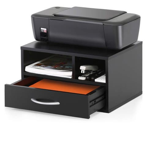 Two-Tier Wooden Printer Fax Stands Desktop Organizers File Cabinet