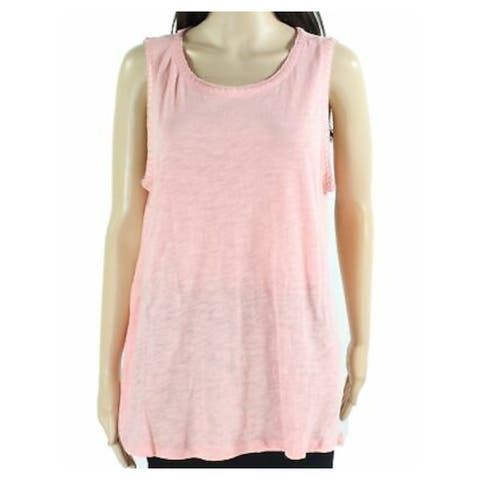 INC Womens Coral Solid Sleeveless Jewel Neck Top Size XL