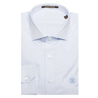 Roberto Cavalli Men's Spread Collar Cotton Dress Shirt Light Blue