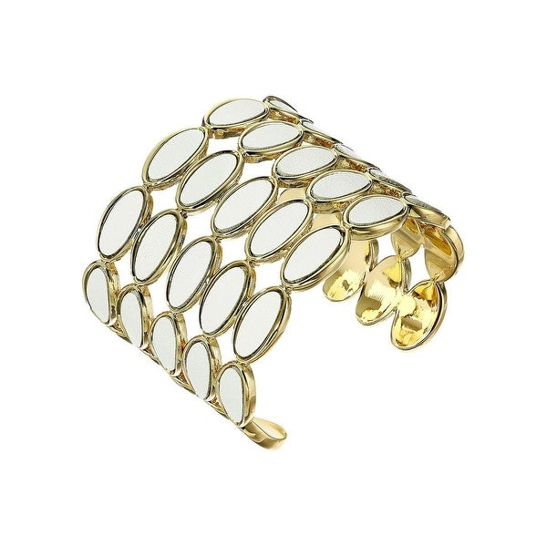 House of Harlow by Nicole Richie Womens Del Sol Cuff Bracelet Leather 5 Row - White/Gold