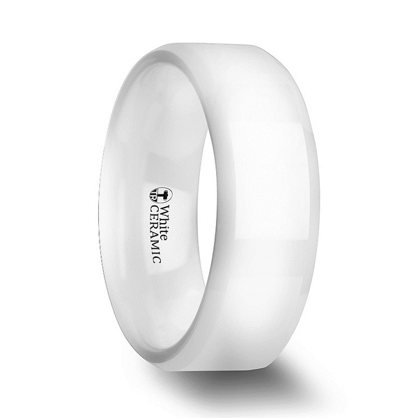 Glacier White Ceramic Wedding Band With Beveled Edges And Polished Finish