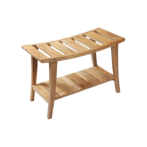 Nordic Style Solid Teak Asian Style Bench with Shelf - Beige
