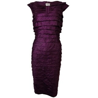 London Times Women's Rhinestone Keyhole Tiered Sheen Dress
