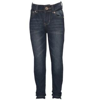 Mini Moca Little Girls Blue Stitch Detail Back Pockets Skinny Denim Pants 4-6X (Option: 4)
