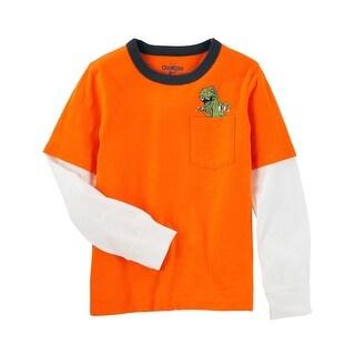 OshKosh B'gosh Big Boys' Double Decker Graphic Pocket Tee, Orange, 14 Kids