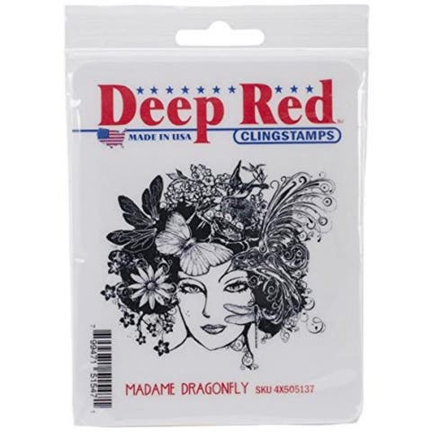 Deep Red Stamps Madame Dragonfly Rubber Cling Stamp - 3.1 x 2.75