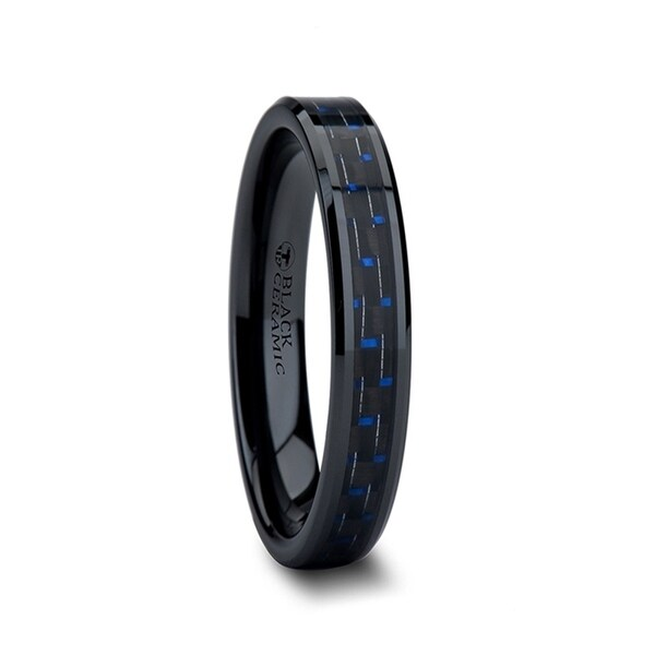 THORSTEN - AVITUS Black Beveled Ceramic Ring with Blue & Black Carbon Fiber Inlay - 4mm
