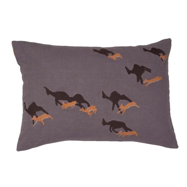 "20"" Mist Gray Metal Gray and Fawn Brown Animal Print Cotton Throw Pillow"