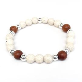Ivory River Stone 'Loyal' stretch bracelet Sterling Silver