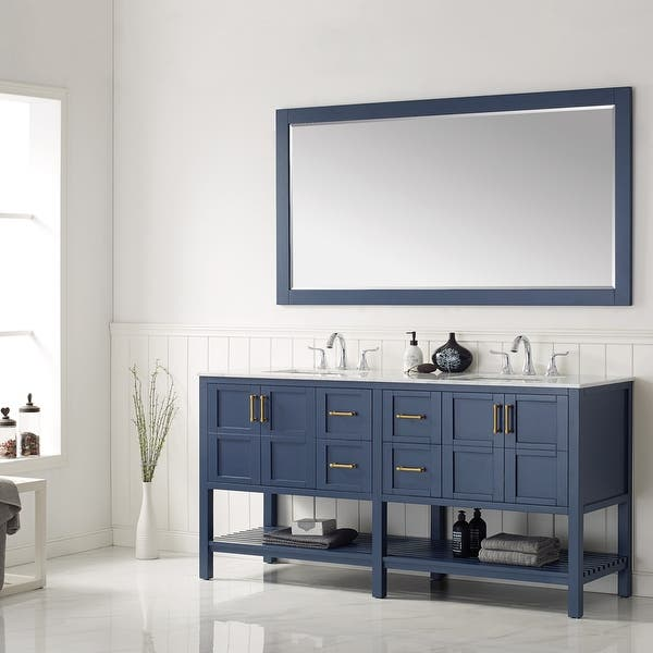 Florence 72 Inch Rectangular Bathroom Vanity Framed Wall Mirror In Blue 72 Inches Overstock 32246094