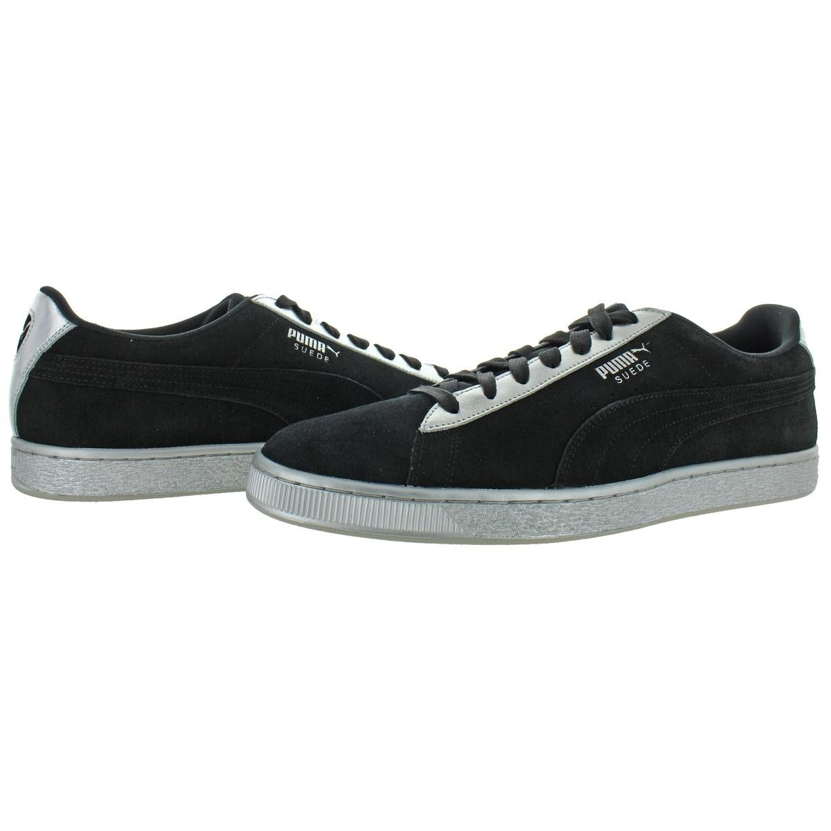 Puma Mens Suede Classic Metallic Sneakers Trainers Suede - Puma Black/Puma  Silver - 14 Medium (D)