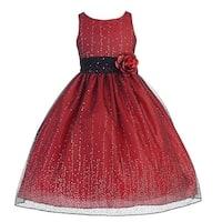 Little Girls Red Organza Glitter Flower Girl Dress 2T-6