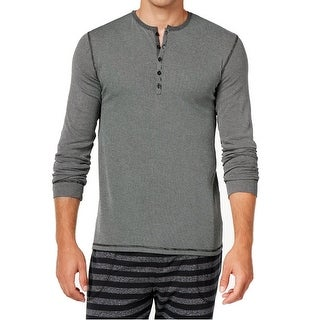 Kenneth Cole Reaction NEW Black Mens Large L Striped Henley Sleep Shirt