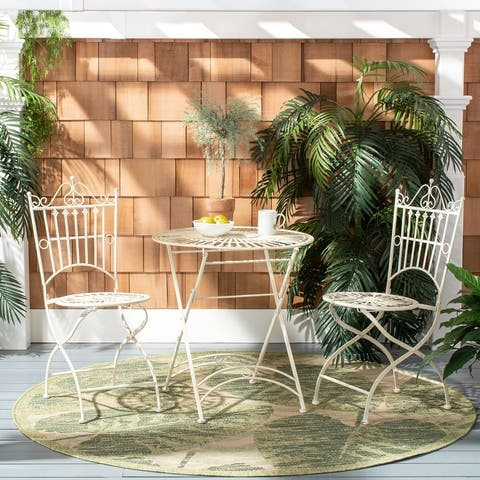 "Safavieh Outdoor Living Belen Bistro Set, One Table And Two Chairs - TABLE:27.5""x27.5""x28.75"" CHAIR: 17""x19""x38.25"""
